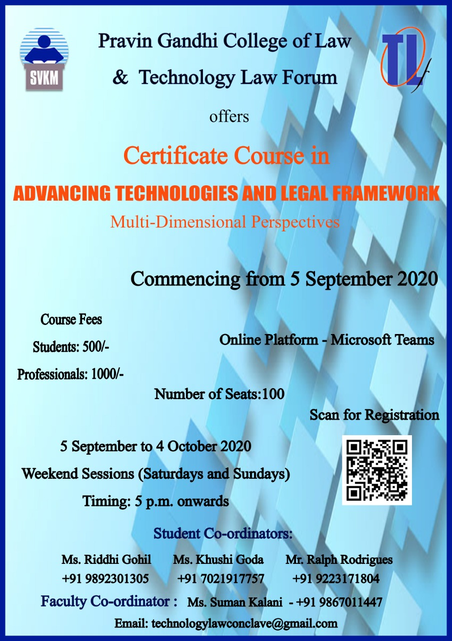 "Certificate Course in ""Advancing Technologies and Legal Framework"""